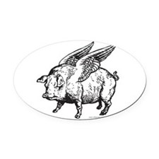 WhenPigsFly.png Oval Car Magnet