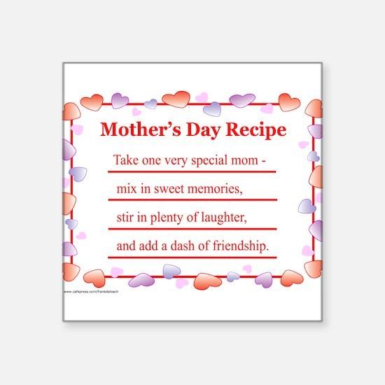 "MothersDayRecipe.png Square Sticker 3"" x 3"""