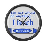ITeachThirdGradeBlue.png Large Wall Clock