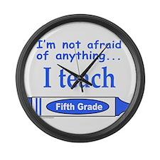 ITeachFifthGradeBlue.png Large Wall Clock