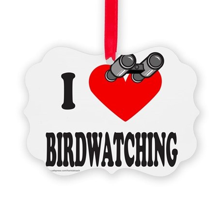 I HEART BIRDWATCHING Picture Ornament