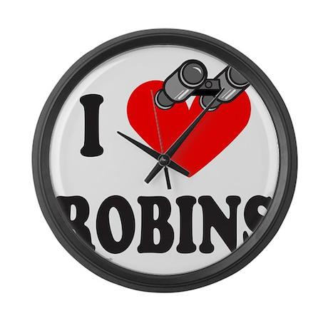 I HEART ROBINS Large Wall Clock