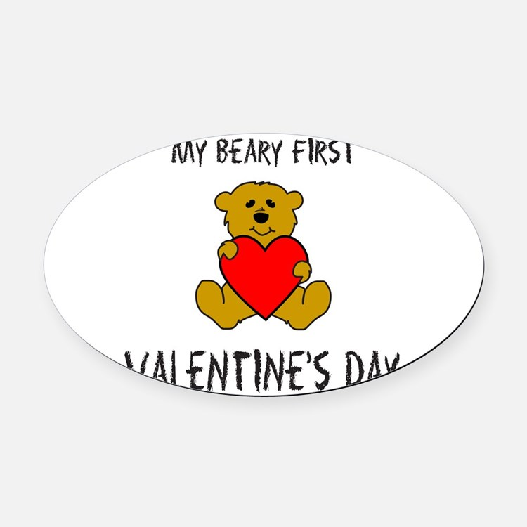 Cute First valentines day Oval Car Magnet