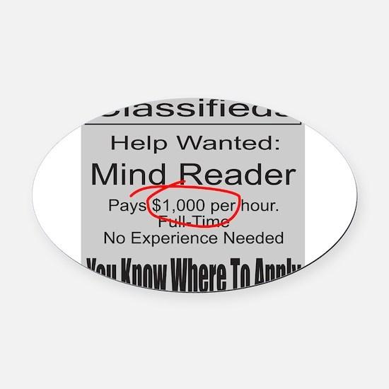 MIND READER Oval Car Magnet