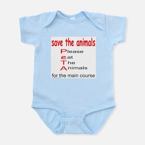 PleaseEatTheAnimals.png Infant Bodysuit
