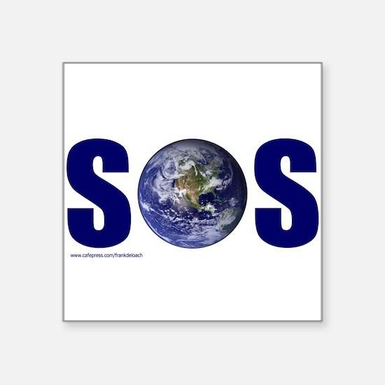 """SOS EARTH Square Sticker 3"""" x 3"""""""