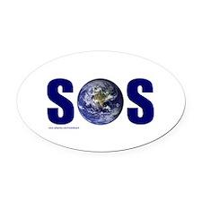 SOS EARTH Oval Car Magnet