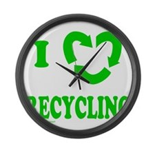 I LOVE RECYCLING Large Wall Clock