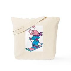 Skiing Rabbit Tote Bag