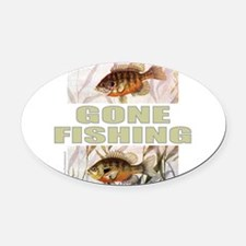 GONE FISHING Oval Car Magnet