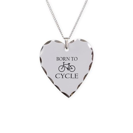 BORN TO CYCLE Necklace Heart Charm