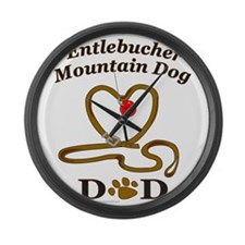 Cute Entlebucher mountain dog Large Wall Clock