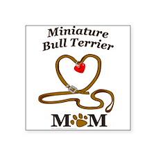 "MINIATURE BULL TERRIER Square Sticker 3"" x 3"""
