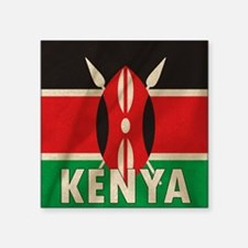"Funny Flag of kenya Square Sticker 3"" x 3"""