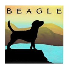 beagle by the sea Tile Coaster