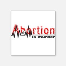 "AbortionFlatLineNoBorder.png Square Sticker 3"" x 3"