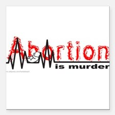 AbortionFlatLineNoBorder.png Square Car Magnet 3""