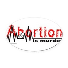 AbortionFlatLineNoBorder.png Oval Car Magnet
