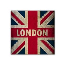 "Vintage Union Jack Square Sticker 3"" x 3"""