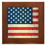 Vintage USA Flag Framed Tile