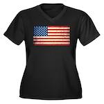Vintage USA Flag Women's Plus Size V-Neck Dark T-S