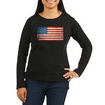 Vintage USA Flag Women's Long Sleeve Dark T-Shirt