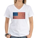 Vintage USA Flag Women's V-Neck T-Shirt