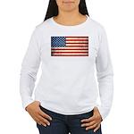 Vintage USA Flag Women's Long Sleeve T-Shirt