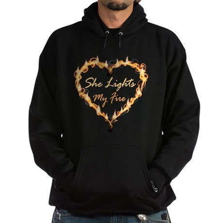 She Lights My Fire Couples Hoodie (dark)