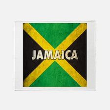 Jamaica Grunge Flag Throw Blanket