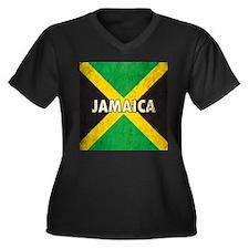 Jamaica Grunge Flag Women's Plus Size V-Neck Dark