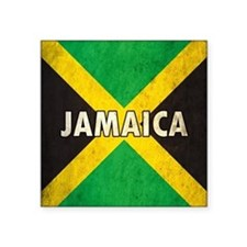"Jamaica Grunge Flag Square Sticker 3"" x 3"""