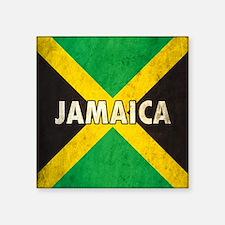"Jamaica Grunge Flag Square Sticker 3"" x 3"""