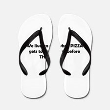 Police and pizza funny Flip Flops