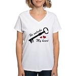 He Unlocks My Heart Women's V-Neck T-Shirt