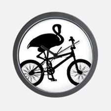 Flamingo on Bicycle Wall Clock