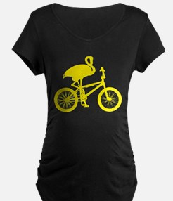 Yellow Flamingo on Bicycle T-Shirt