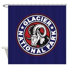 Glacier Red White & Blue Circle Shower Curtain