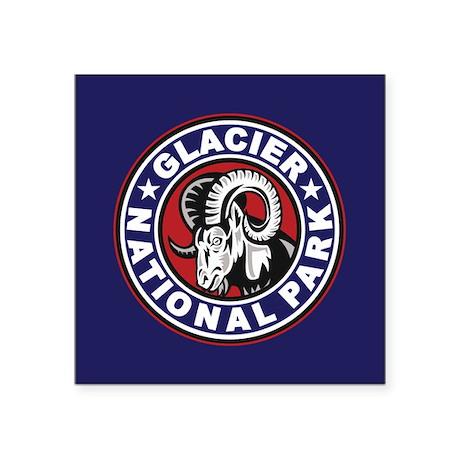 """Glacier Red White & Blue Circle Square Sticker 3"""""""