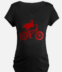 Red Flamingo on Bicycle T-Shirt