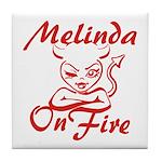 Melinda On Fire Tile Coaster