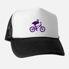 Purple Flamingo on Bicycle Trucker Hat