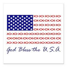 God Bless the USA Christian fish flag Square Car M