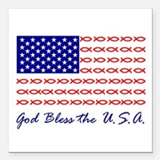 God Bless the USA Christian fish flag Square Car M
