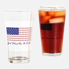 God Bless the USA Christian fish flag Drinking Gla