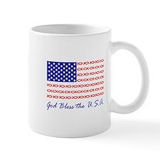 God Bless the USA Christian fish flag Mug