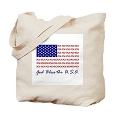 God Bless the USA Christian fish flag Tote Bag