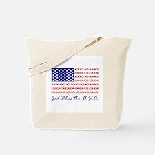 God Bless the USA Christian fish flag Tote Bag