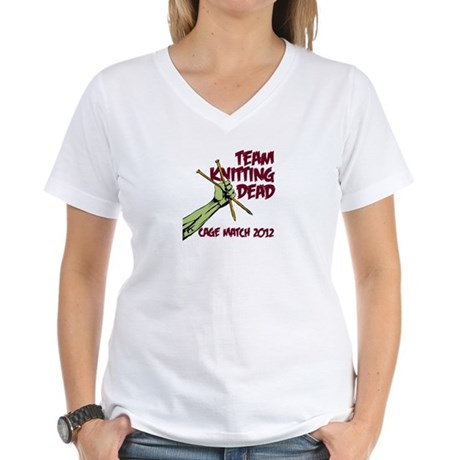 Team Knitting Dead Cage Match Women's V-Neck T-Shi