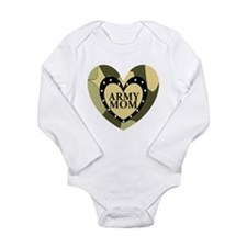 ARMY MOM CAMOUFLAGE HEART Long Sleeve Infant Bodys